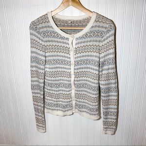 Talbots Silver and Gold Tinsel Cardigan